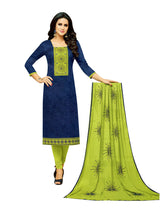 LADYLINE Womens Formal Salwar Kameez Plain Silk Embroidered with Rayon Printed Dupatta
