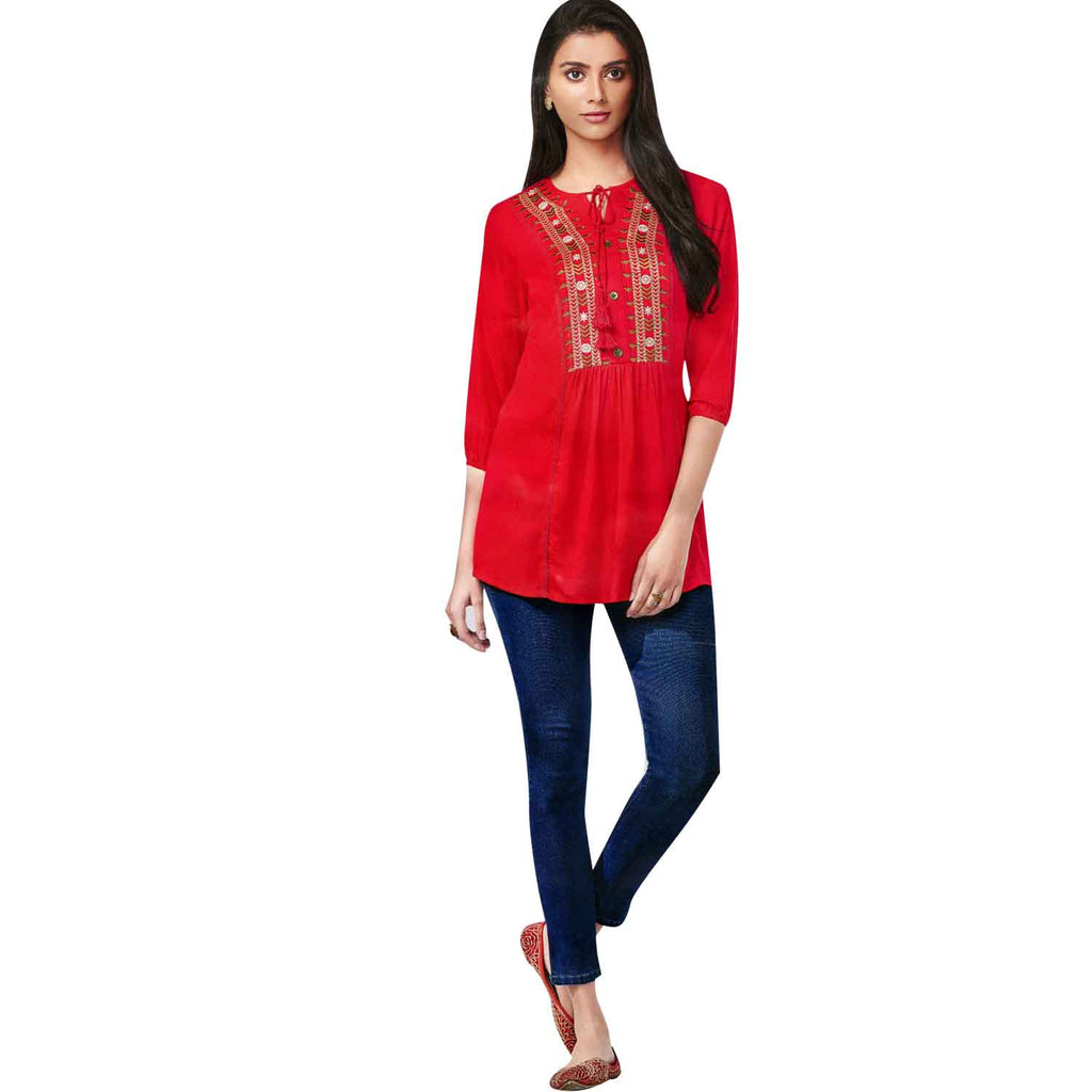 Ladyline Designer Rayon, Embroidered Tunic, Top, Kurti, Blouse, Indian