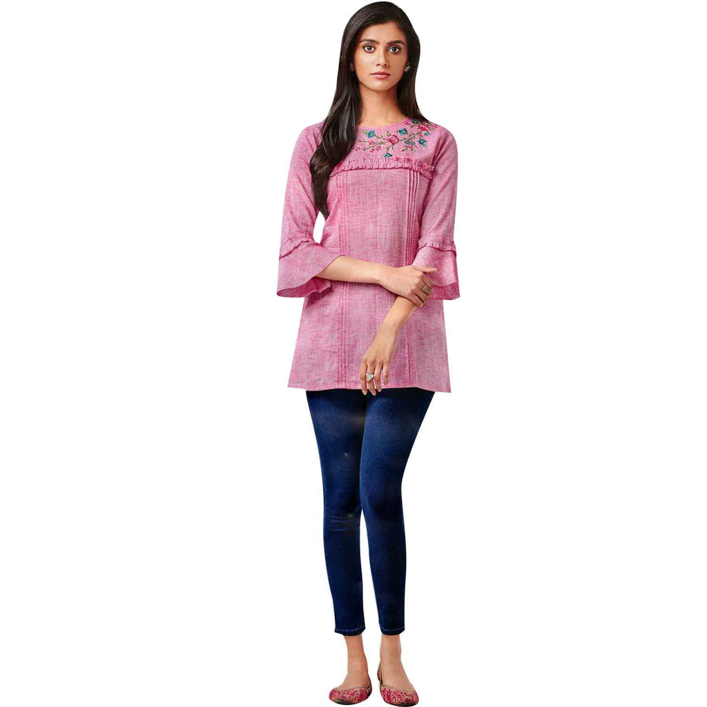 Ladyline Designer Cotton, Embroidered Tunic, Top, Kurti, Blouse, Indian