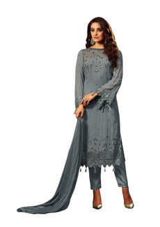 LADYLINE Womens Partywear Salwar Kameez Georgette Embroidered Indian Dress