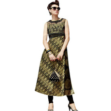 Designer Partywear Silk embroidered Kurti Top With Fabric Work Tunic Kurta (Size_46)