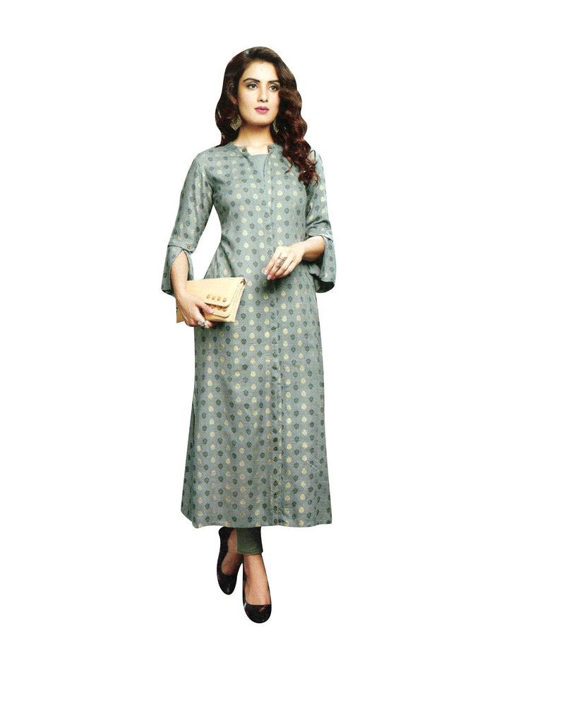 Ladyline Rayon Printed Kurtis for Women Button Down 3/4 Sleeves Long Tunic Top Indian Kurta