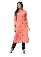 Rayon Cotton Embroidered Kurti with Pants Womens Kurta Tunic Dress