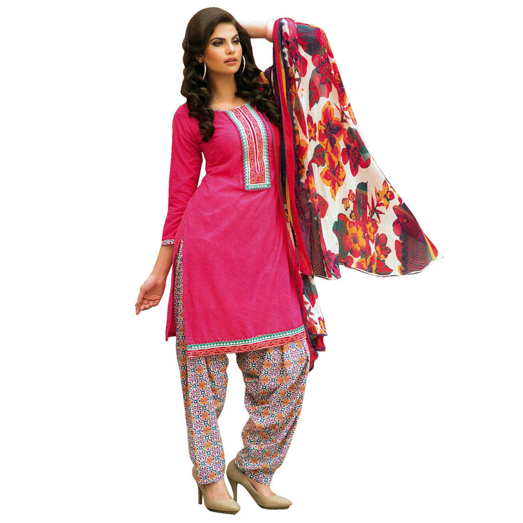 Ready To Wear Cotton Embroidered Printed Salwar Kameez Suit Indian