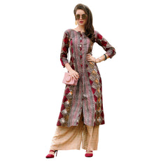 Ladyline Womens Cotton Printed Flair Long Tunic Top 3/4 Sleeves Anarkali Style Kurti Kurta Indian Dress