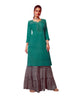 Ladyline Plain Rayon Embroidered Womens Kurti Set with Sharara Pants Indian Tunic Kurta Dress