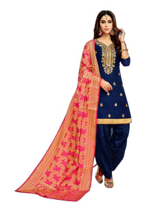 LADYLINE Fromal Plain Blend Silk Embroidered Salwar Kameez wtih Patiala Salwar and Banarasi Dupatta