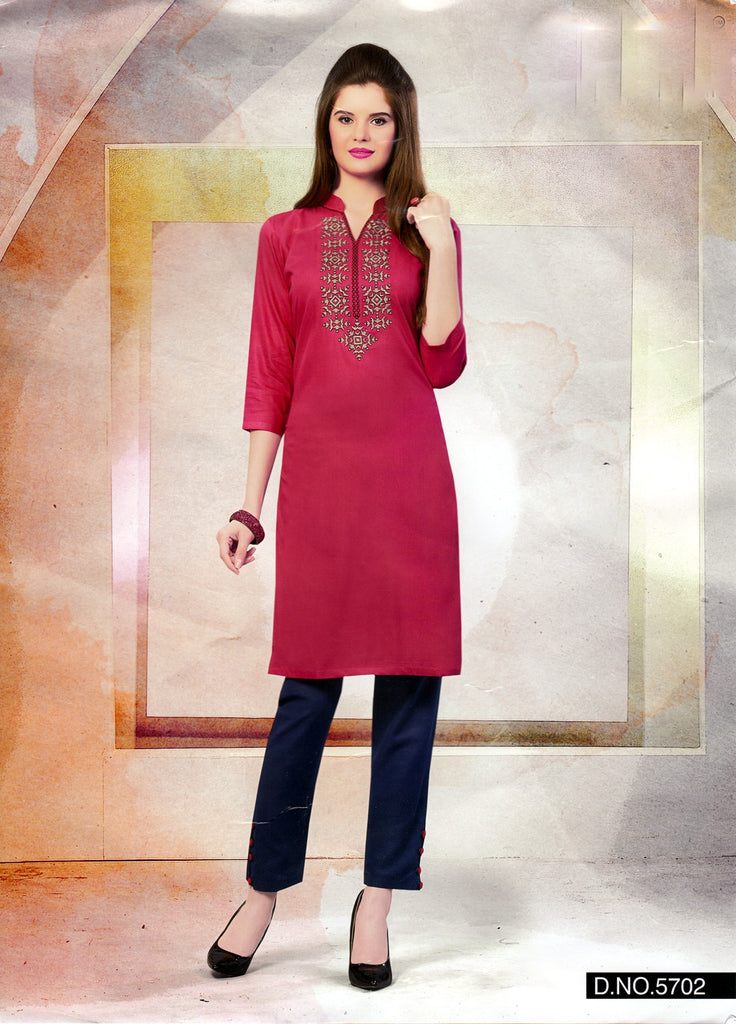 Pink Rayon Embroidered Tunic Kurti Top -Size 42
