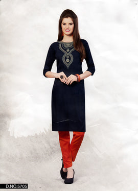 Navy Blue Rayon Embroidered Tunic Kurti Top -Size 42