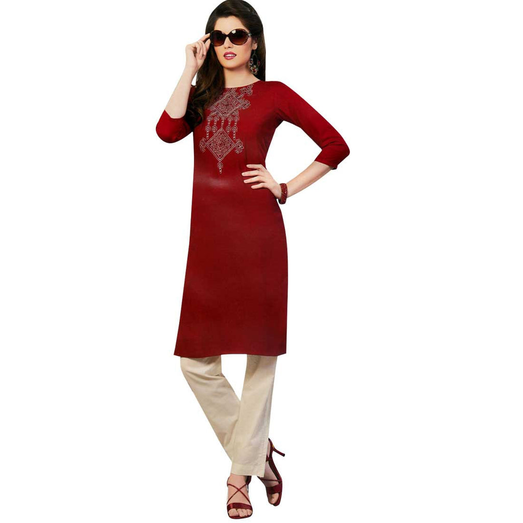 Red Maroon Rayon Embroidered Tunic Kurti Top -Size 42
