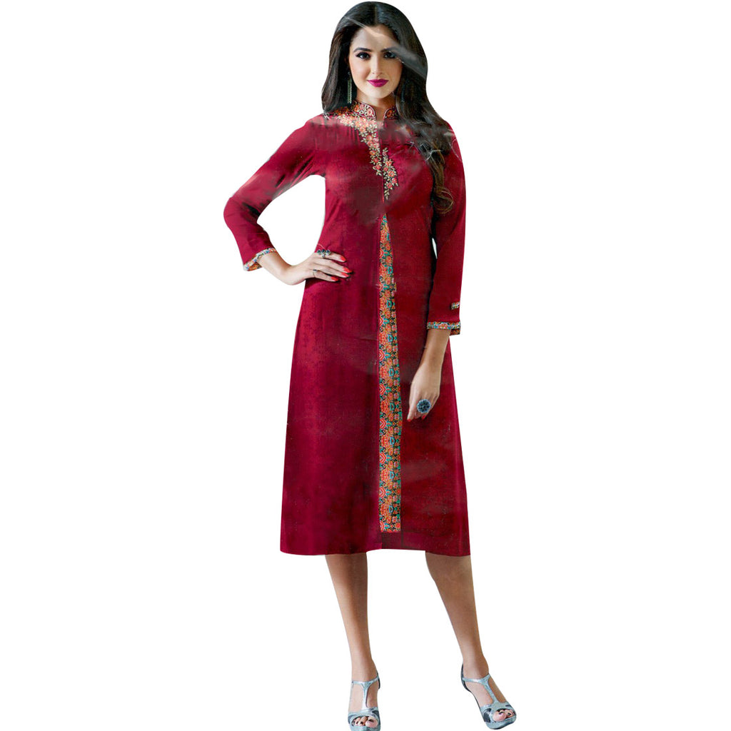Designer Long Georgette Partywear Embroidered Kurti top, Kurta, Evening Gown, Tunic Indian
