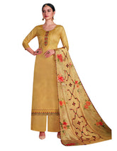 Ladyline Formal Plain Cotton Embroidered Salwar Kameez Suit with Palazzo Pants & Silk Printed Dupatta