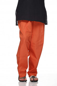 Orange Plain Cotton Regular Salwar Pant