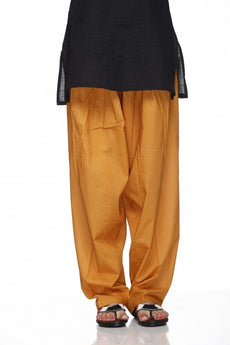 Mustard Plain Cotton Regular Salwar Pant