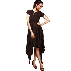 Ladyline Women's Formal Cocktail Kurti Rayon Cotton Cap Sleeves Slit Maxi Kurti Party