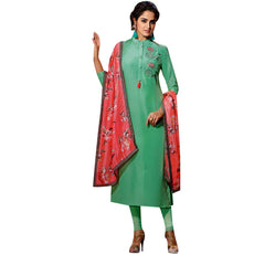 Designer Women's Sunfill Silk Long Tunic Top Plain Embroidered Partywear 3/4 Sleeves with Stylish Scarf Stole in Chiffon Silk Button Neck Kurti Kurta