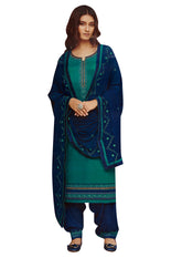 LADYLINE Cotton Embroidered Patiala Salwar Kameez With Chiffon Dupatta Indian Women's Dress