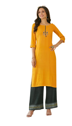 Womens Rayon Plain Kurta with Embroidery & Palazzo Pants Embroidered Indian Tunic Kurti