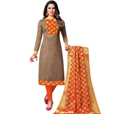 LADYLINE Womens Partywear Blend Silk Jari Embroidered Salwar Kameez with Banarasi Silk Dupatta Indian Dress Salwar Suit