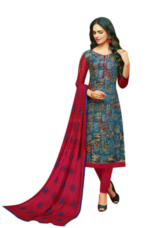 LADYLINE Womens Rayon Salwar Kameez Embroidered Sleeves & Dupatta