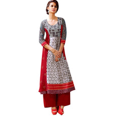 Designer Cotton Red Handwork Kurti With Anarkali Style Pattern (Size=42/L)