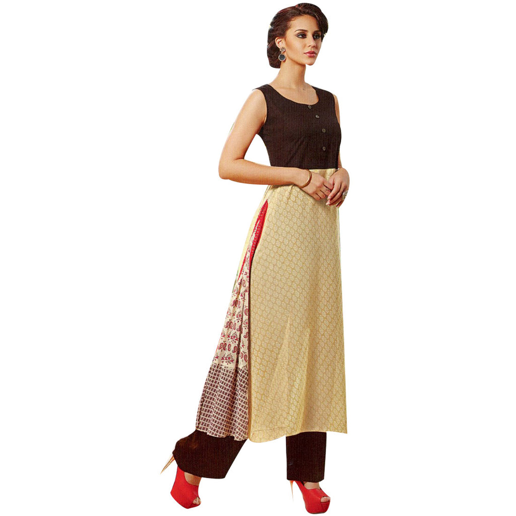 Designer Straight Brown Cotton Kurti With Embroidery and Handwork (Size=42/L)
