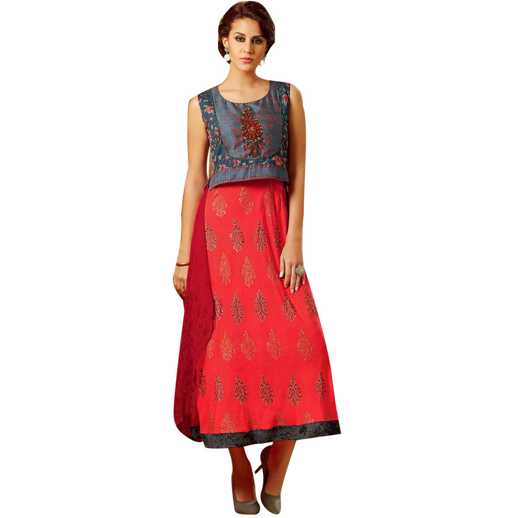 Designer A Flair Red Kurti With Handwork jacket and georgette Back Pattern (Size=42/L)