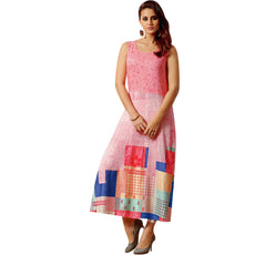 Designer Printed Pink Kurti With Handwork Tunic and Upper Jacket Shrug (Size=42/L)