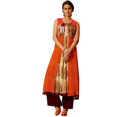 Designer Printed Long Anarkali Kurti With Long GeorgetteOrange jacket (Size=42/L)
