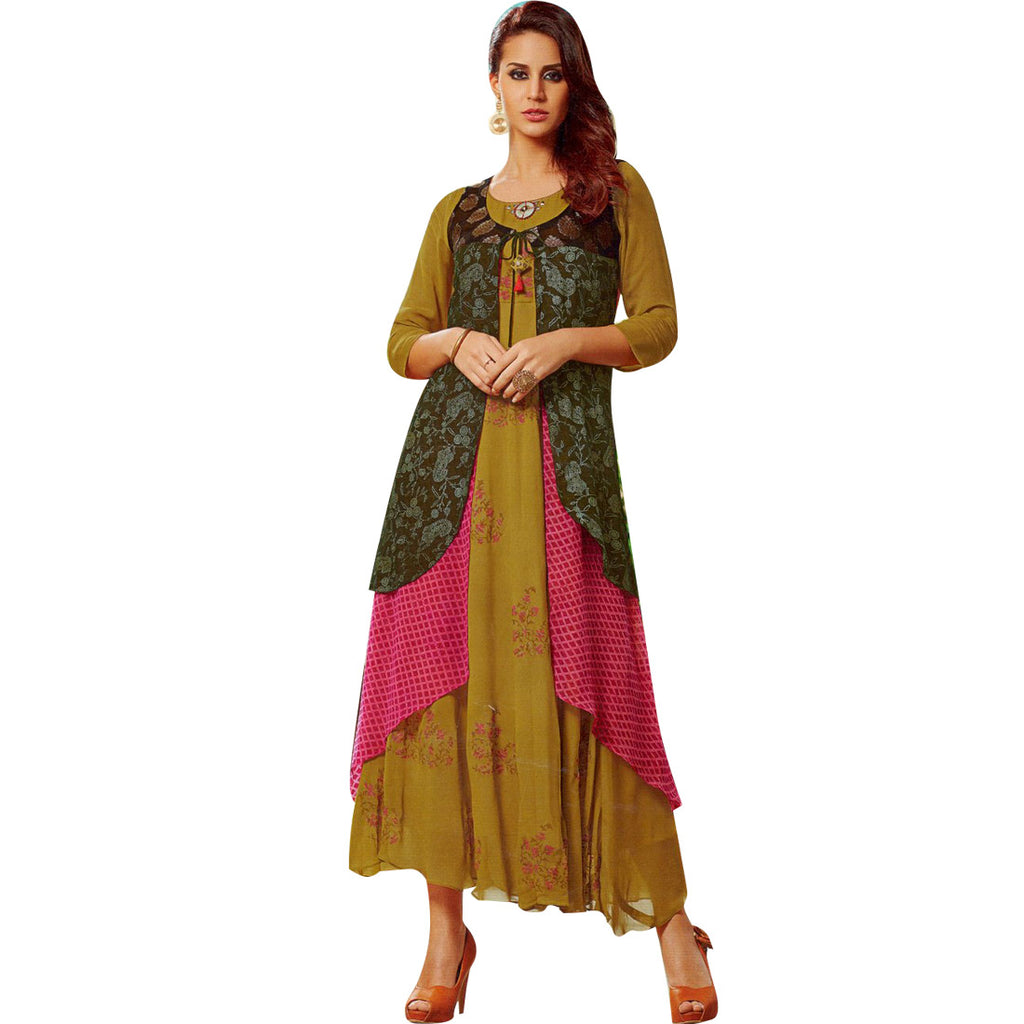 Designer Georgette Printed Long Anarkali Kurti with a Jacket (Size=42/L)