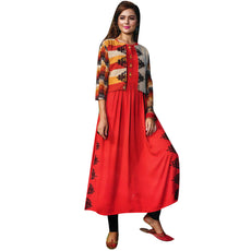 Designer Straight Embroidered Rust Colour Kurti With Open Jacket (Size=40/M)