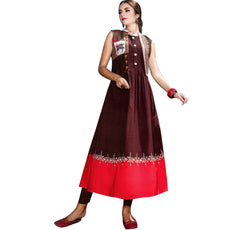 Designer Straight Embroidered Brown Colour Kurti With Open Jacket (Size=40/M)