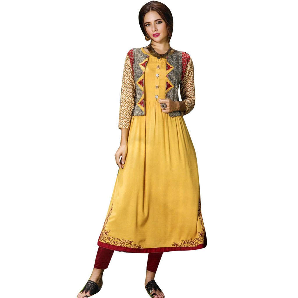 Designer Straight Embroidered Yellow Colour Kurti With Open Jacket (Size=40/M)