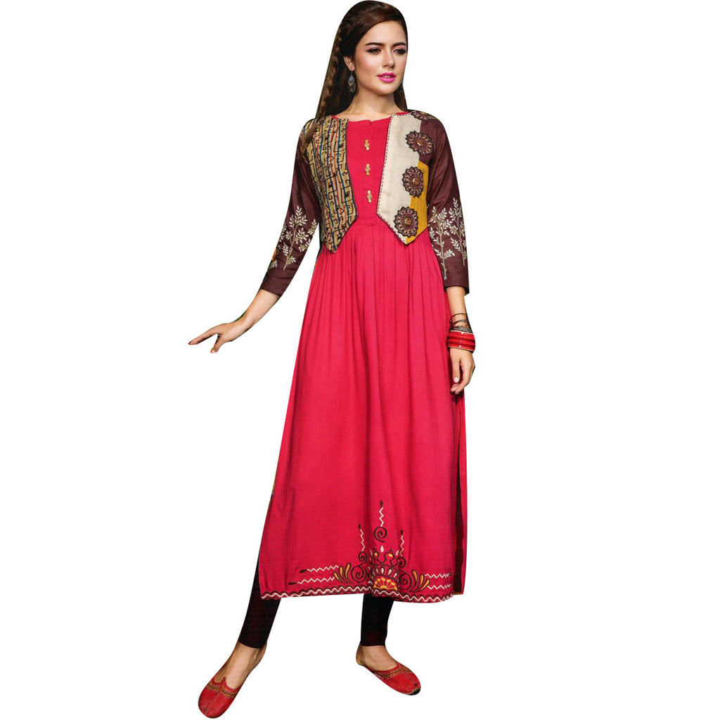 Designer Straight Embroidered Red Colour Kurti With Open Jacket (Size=42/L)