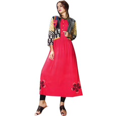 Designer Straight Embroidered Red Colour Kurti With Open Jacket (Size=40/M)