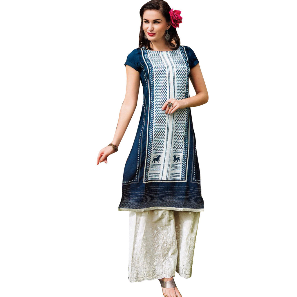 Designer Cotton Trendy Mid Length Kurta Kurti with Palazzo Pants Size- XL / 44