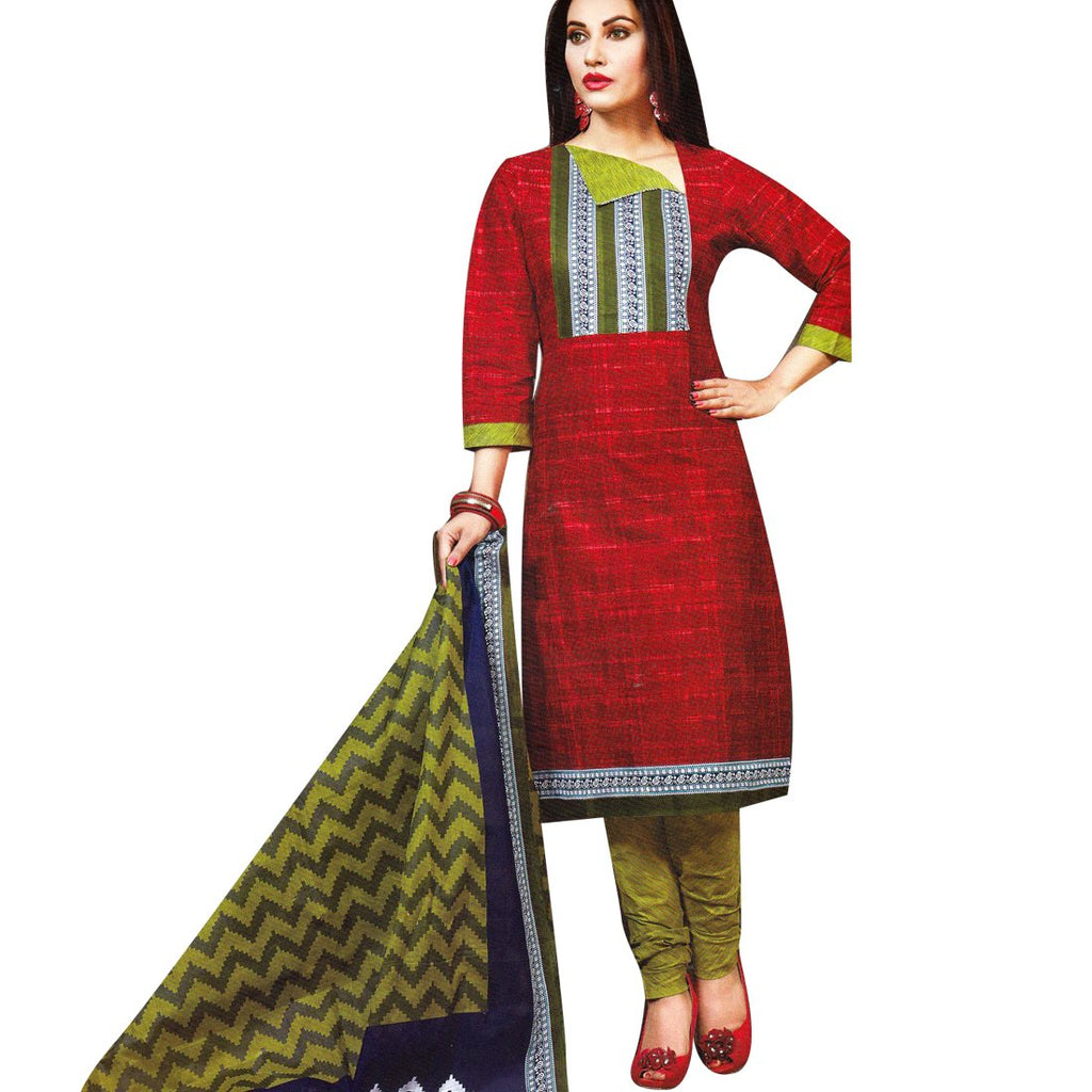 Readymade Elegant Ethnic Printed Rich Cotton Salwar Kameez Suit