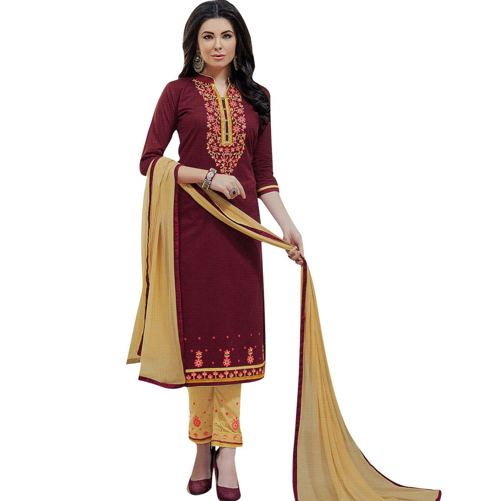 Readymade Womens Cotton Embroidered Salwar Kameez Suit Indian