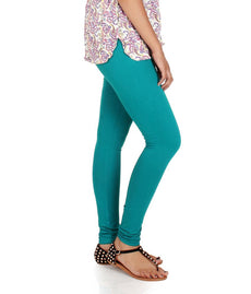 Sea Green Premium Soft Cotton Churidar Leggings
