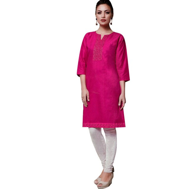Ladyline Elegant Cotton Plain  Embroidered Kurta Tunic Kurti Bollywood Indian Dress (Size=40)