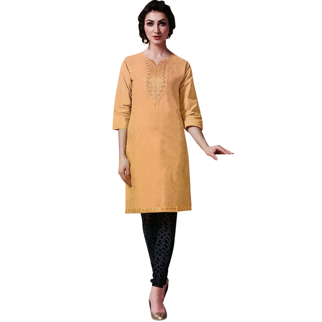 Ladyline Elegant Cotton Plain  Embroidered Kurta Tunic Kurti Bollywood Indian Dress (Size=42)