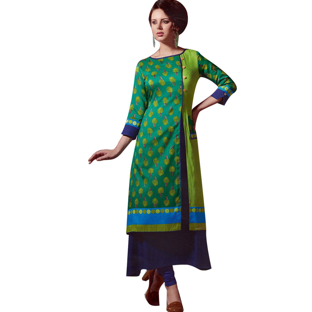 Womens 3/4 Sleeves Indian Tunic Rayon Kurti Top Designer Kurta