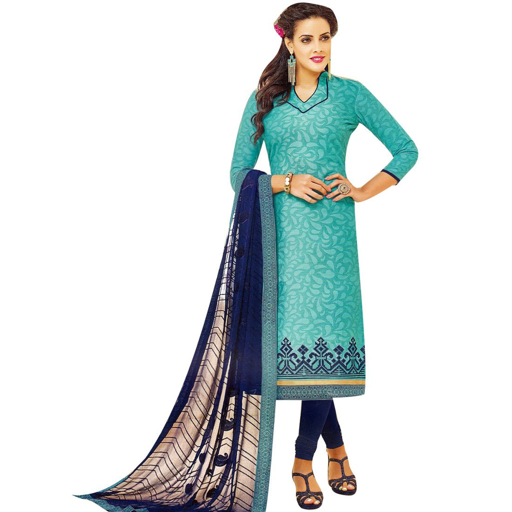 Readymade Jacquard Cotton Embroidered Salwar Kameez Suit Indian