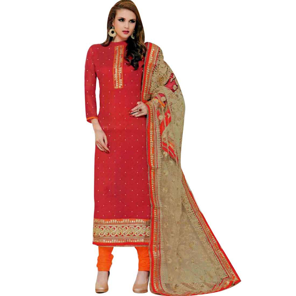 Wedding Partywear Heavy Dupatta Brocade Silk Embroidered Salwar Kameez Suit