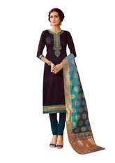LADYLINE Silk Handworked Plain Salwar Kameez with Banarasi Silk Dupatta Indian Pakistani Dress for Womens