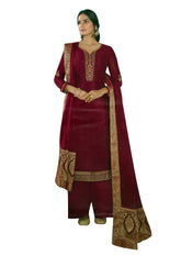Ladyline Silk Zari Embroidered Salwar Kameez Suit Partywear with Jacquard Border Silk Dupatta