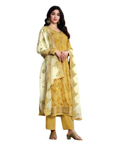 Ladyline Jacquard Silk Embroidered Partywear Salwar Kameez Suit with Heavy Silk Dupatta & Pants Style