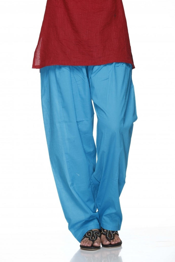 Blue Plain Cotton Regular Salwar Pant