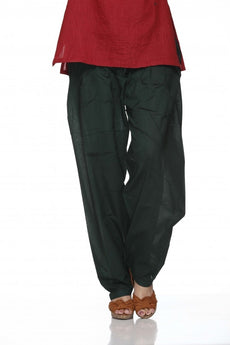 Bottle Green Plain Cotton Regular Salwar Pant