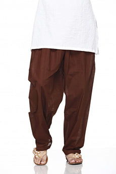 Brown Plain Cotton Regular Salwar Pant